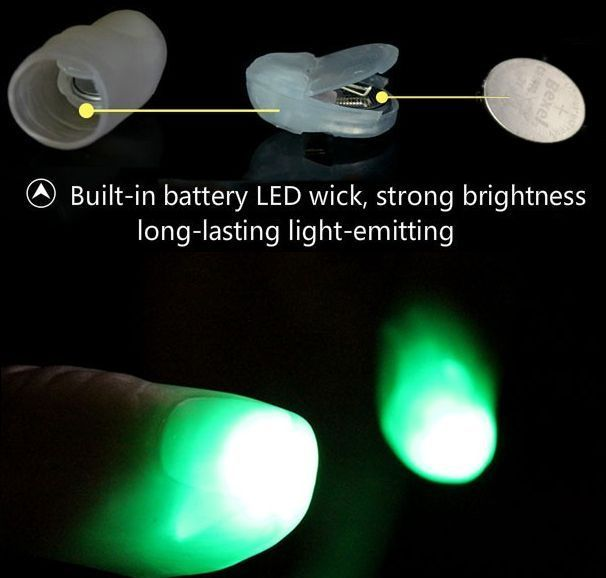2x Light Up Thumb Tips Red Green Or Blue Post Tricks